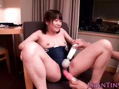 Japanese boyfriend fucks a lusty girl with a dildo