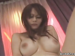 Bosomy babe is playing with the huge sex toy