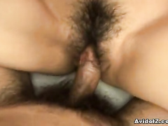 Hairy nub of smiling girl stretched with cock
