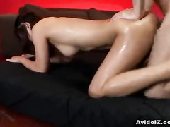 Asian girl stays in doggy and takes dick in ass