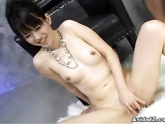 Girl sucking two dicks and playing with lingerie
