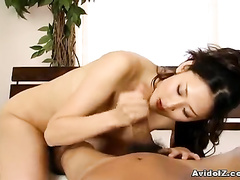 Asian fucker is stroking and sucking the rod