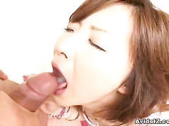 Fat rod in Asian girl's mouth and between her tits