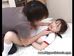 18 yo Japanese schoolgirl is sucking a hard wiener