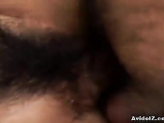 Small titted girl moans when dick fucks hairy nub
