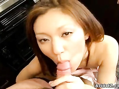 Cute Asian is blowing the huge ram rod