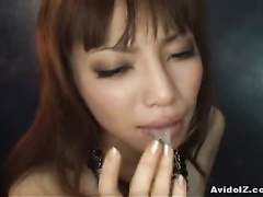 Avid Asian mouth fully filled with hard meat