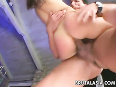 Two cocks fucking brains out of the sultry Asian