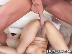 Busty Asian gets mercilessly owned in ass and nub