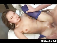 Blue stockings girl anal and pussy fuck on camera