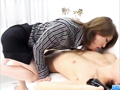 Japanese milf face sitting and riding the guy