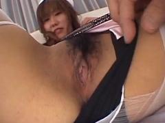 Asian gal hairy nub close up masturbation and fuck