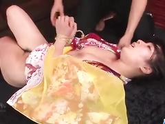 Asian girl in kimono is happy to fuck two dicks