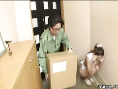 Wonderful Japanese teen is sucking a worker's cock
