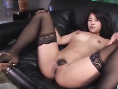 Long haired Japanese in stockings in various fuck