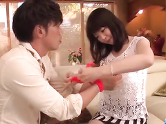 Japanese in striped skirt does awesome blowjob