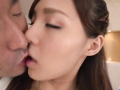 Hot Asian beauty doesn't stop blowing the cock