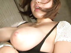 Busty Asian shows pussy up skirt and fucks