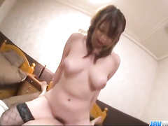 Red haired Japanese chick enjoys riding huge dick with her tight asshole