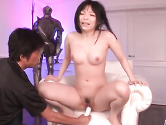 Yummy fresh Asian chick is exciting with two sex toys