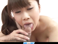 Handsome Asian guy enjoys fondling girlfriend's boobies