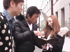 Japanese teen chick gets hooked on street by two fuckers