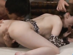 Asian girlie is being excited hot by two fucker friends