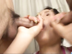 Sexy Asian babe sucks two dicks and pleasures hot threesome fuck