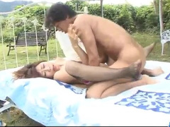 Amazingly sexy young brown haired chick fucks hot outdoors