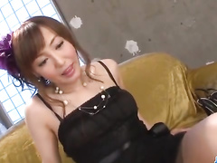 Amazingly cute beauty chick is pleasuring hot fuck with two Asian dicks