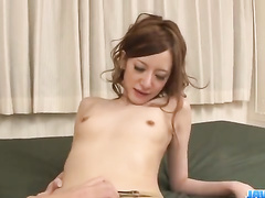 Skinny chick sucks boyfriend's finger and hairy dick