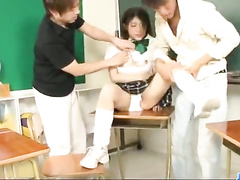 Cutie Asian student chick gets fucked in classroom