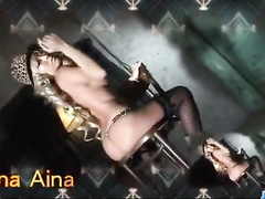 Blonde Asian slut is excitingly stripping and fucking with two fuckers