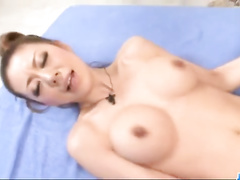 Asian hottie enjoys threesome fuck with two fuckers