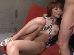 Japanese fucker excites his girlfriend with vibrator dildo