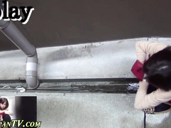 Sexy Japanese babe is being caught peeing