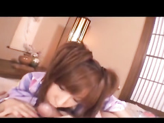 Japanese beauty chick is hotly exciting her fucker with blowjob