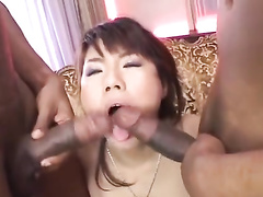 Two black guys are hotly exciting one Japanese chick