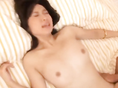 Japanese babe with wonderful boobies hotly suck dick