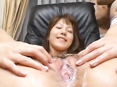 Teen Asian chick gets hairy pussy messed up in cumshots