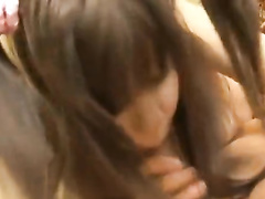Asian pig tailed cutie is getting excitingly licked off