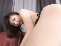 Fucker excites young Japanese chick by kissing and licking her