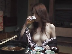 Japanese girl shows off sexy boobies at diner with boyfriend