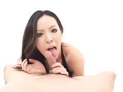 Cutie Japanese babe does hot blowjob to her fucker