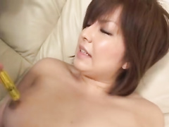 Juicy young Japanese chick enjoys masturbation and sucks dick