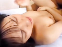 Asian guy with sexy haircut excites hot chick and fucks her hard