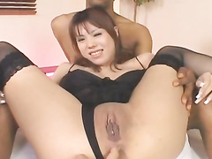 Japanese chick enjoys fondling and masturbation
