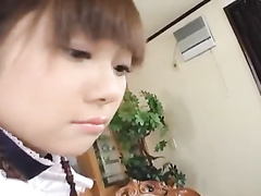 Horny Japanese housemaid covets to handsome young fucker guy