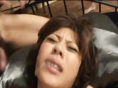 Two Japanese fuckers are making hot chick to blowjob their dicks
