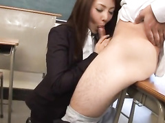 Japanese slutty teacher chick covets to her student
